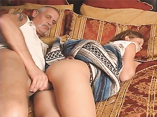 Horny grandpa screwed his grandaughter while she was sleeping tight